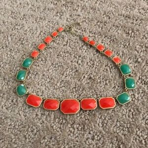 Coral and teal necklace with gold border